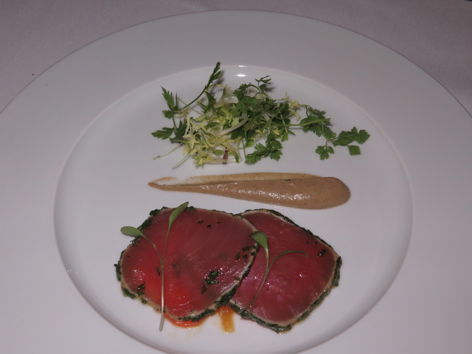 """Escabèche of yellowfin tuna, aubergine purée and herbs"""