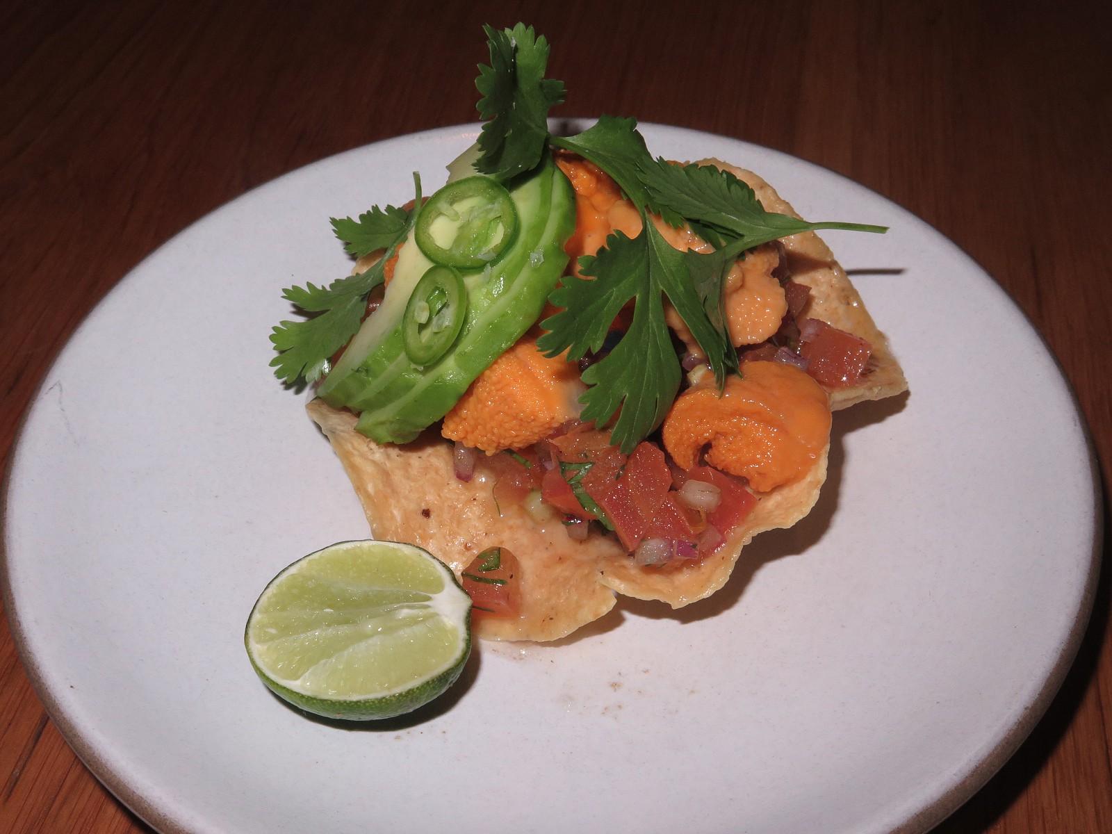 Uni tostada, avocado, bone marrow salsa, cucumber