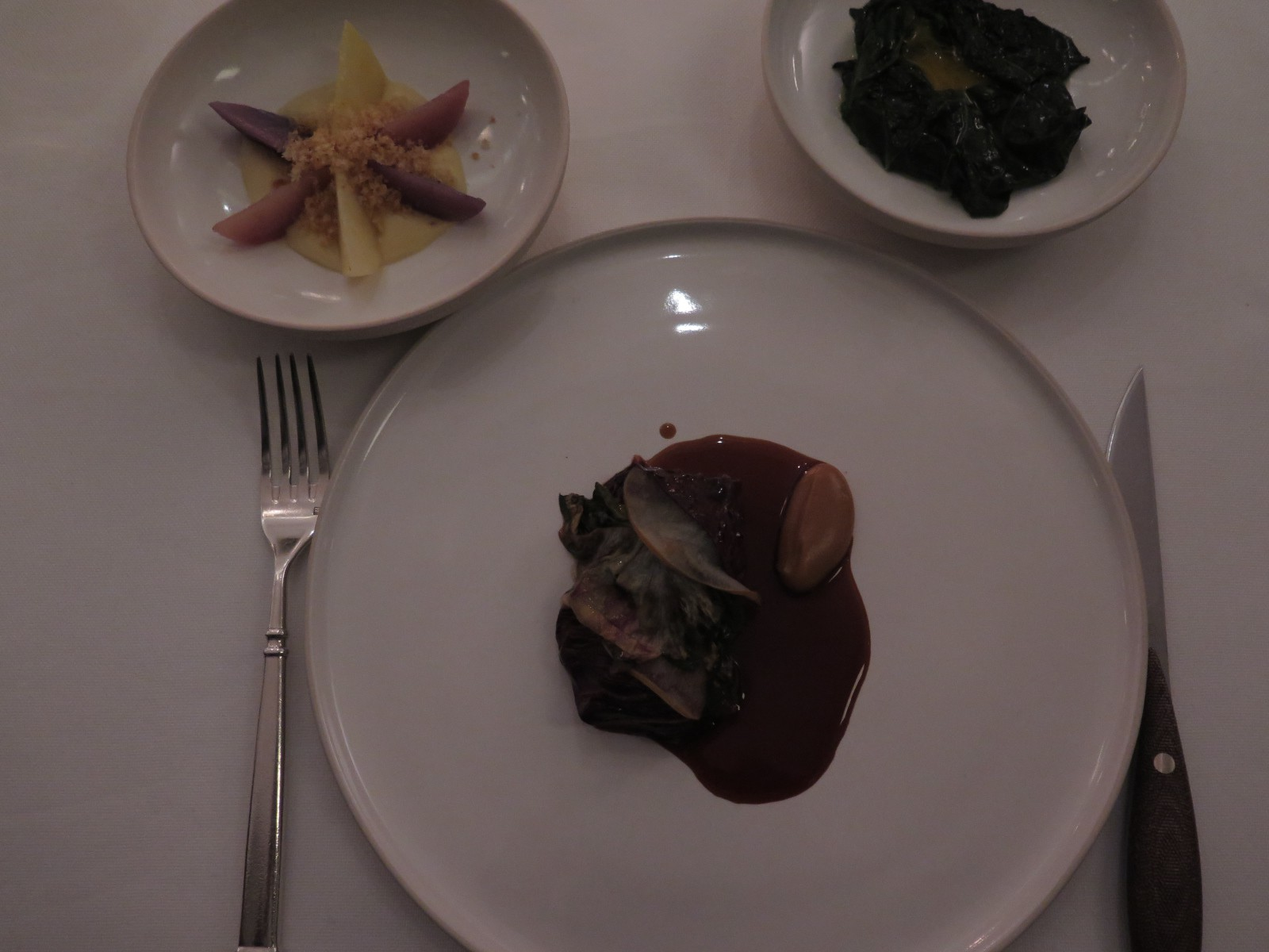 VEAL Dry-Aged with Bitters Greens and Shallot + POTATO Confit, Puree and Crumble + KALE with Pearl Onion and Farm Egg