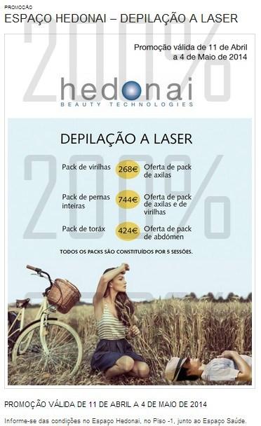 Promoção depilação laser | EL CORTE INGLÉS | espaço Hedonai até 4 maio