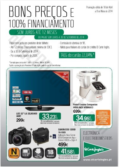 Novo folheto | EL CORTE INGLÉS | electrónica e electrodomésticos , de 18 abril a 8 maio