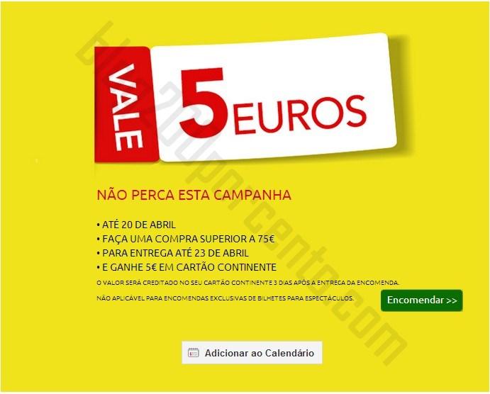 Vale 5€ | CONTINENTE | Online até 20 abril
