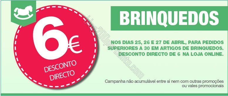 6€ de desconto   EL CORTE INGLÉS   em brinquedos, de 25 a 27 abril