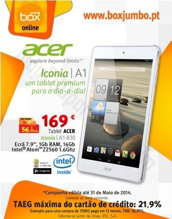 Promoção | JUMBO | Acer Iconia A1-830 até 31 maio