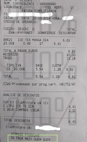 Resultado da acumulação L3P2+talão   MINI PREÇO   Ice Tea