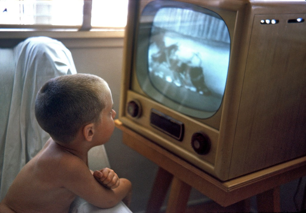 August 1963. My nephew Jimmy watching a cartoon on TV in South Gate, California.jpg