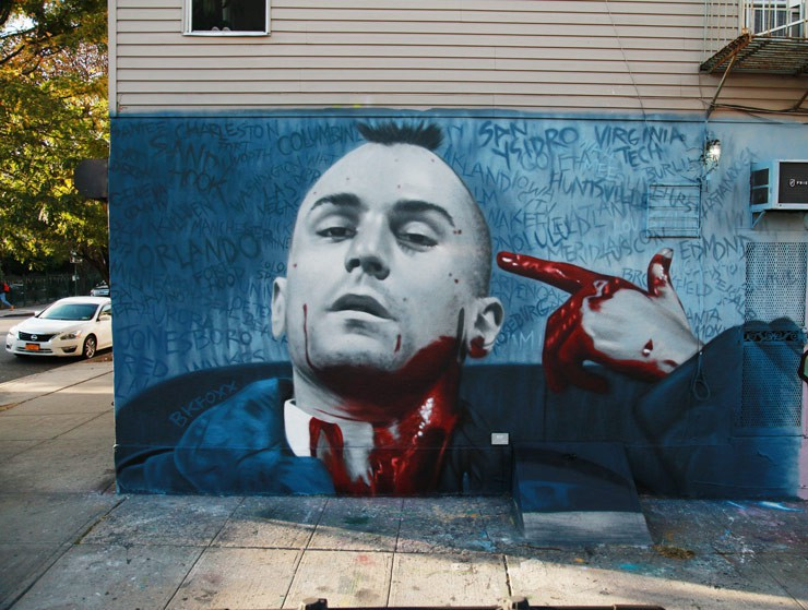 BK Foxx creates this new mural on gun violence in our country, which glamorizes guns and violence in its movies, TV programs, games, and music videos..jpg