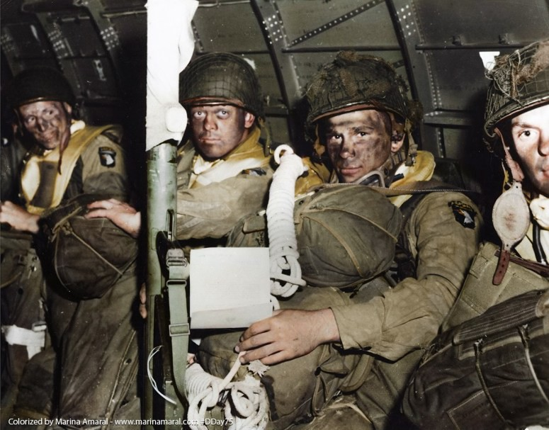 "2 Troops-from-the-101st-Airborne-with-full-packs-and-a-bazooka-in-a-C-47-just-before-take-off-from-RAF-Upottery-Airfield-to-Normandy-France-for-""Operation-Chicago-1.jpg"