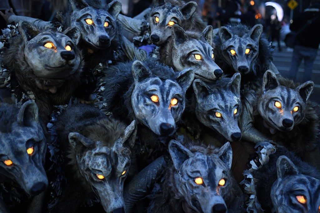 Members of the street-performance troupe Macnas participate in their Halloween parade called Out of the Wild Sky in Galway, Ireland, on October 28, 2018.jpg