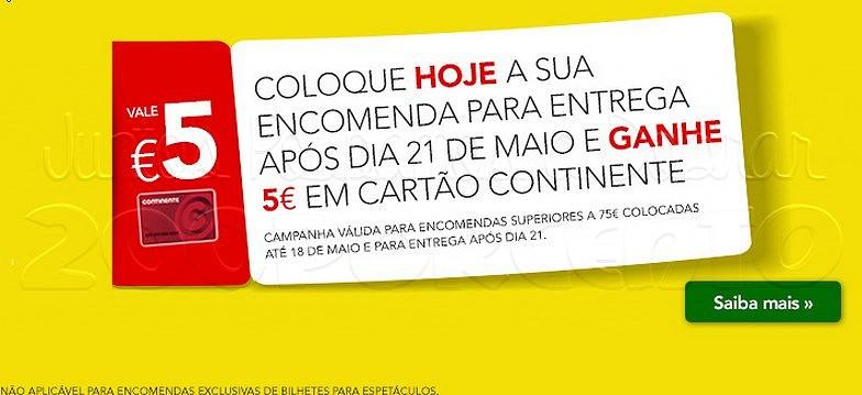 5€ em cartão | CONTINENTE | até dia 18 maio - Online