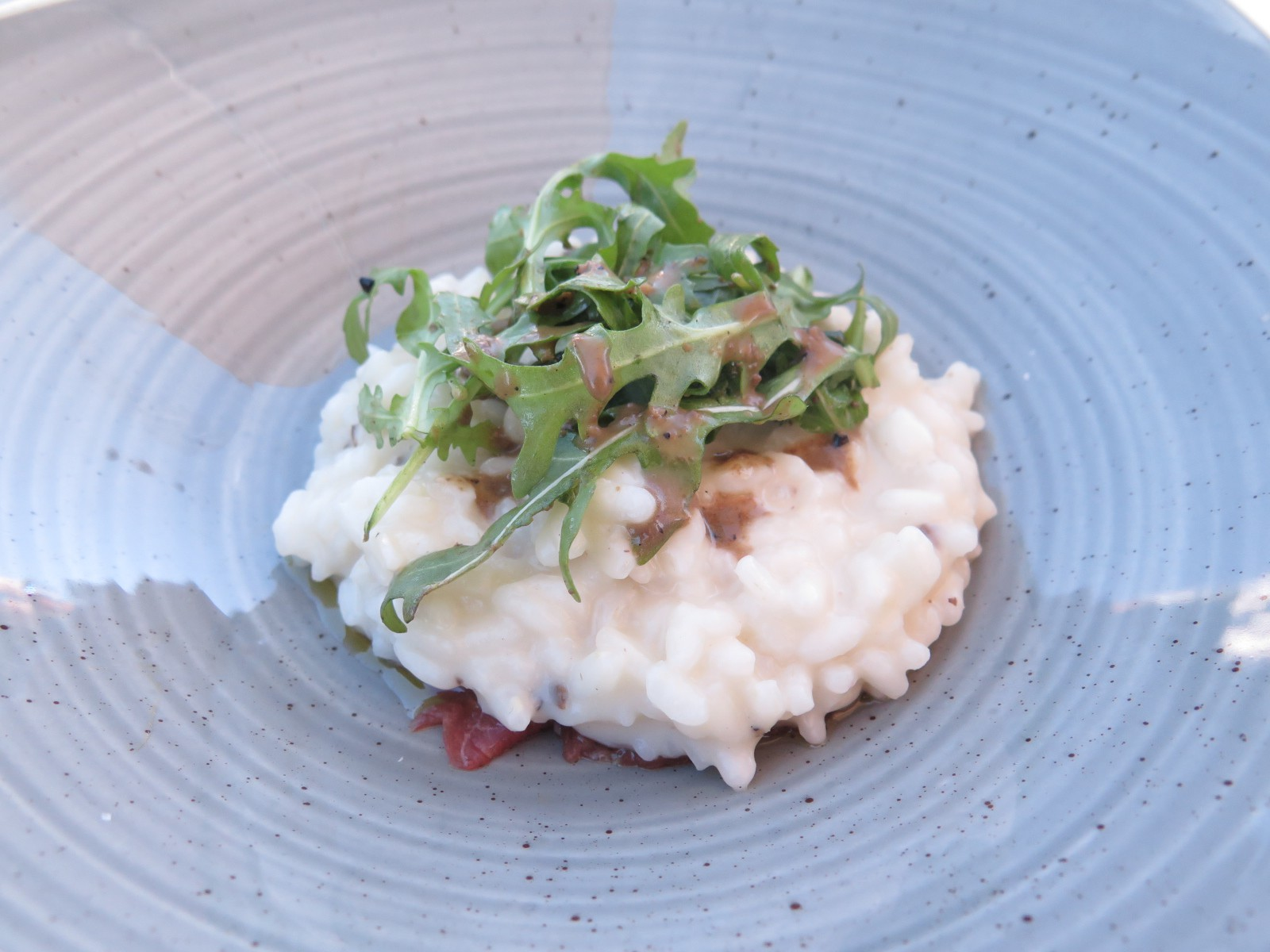 """Truffle Risotto on Carpaccio"""