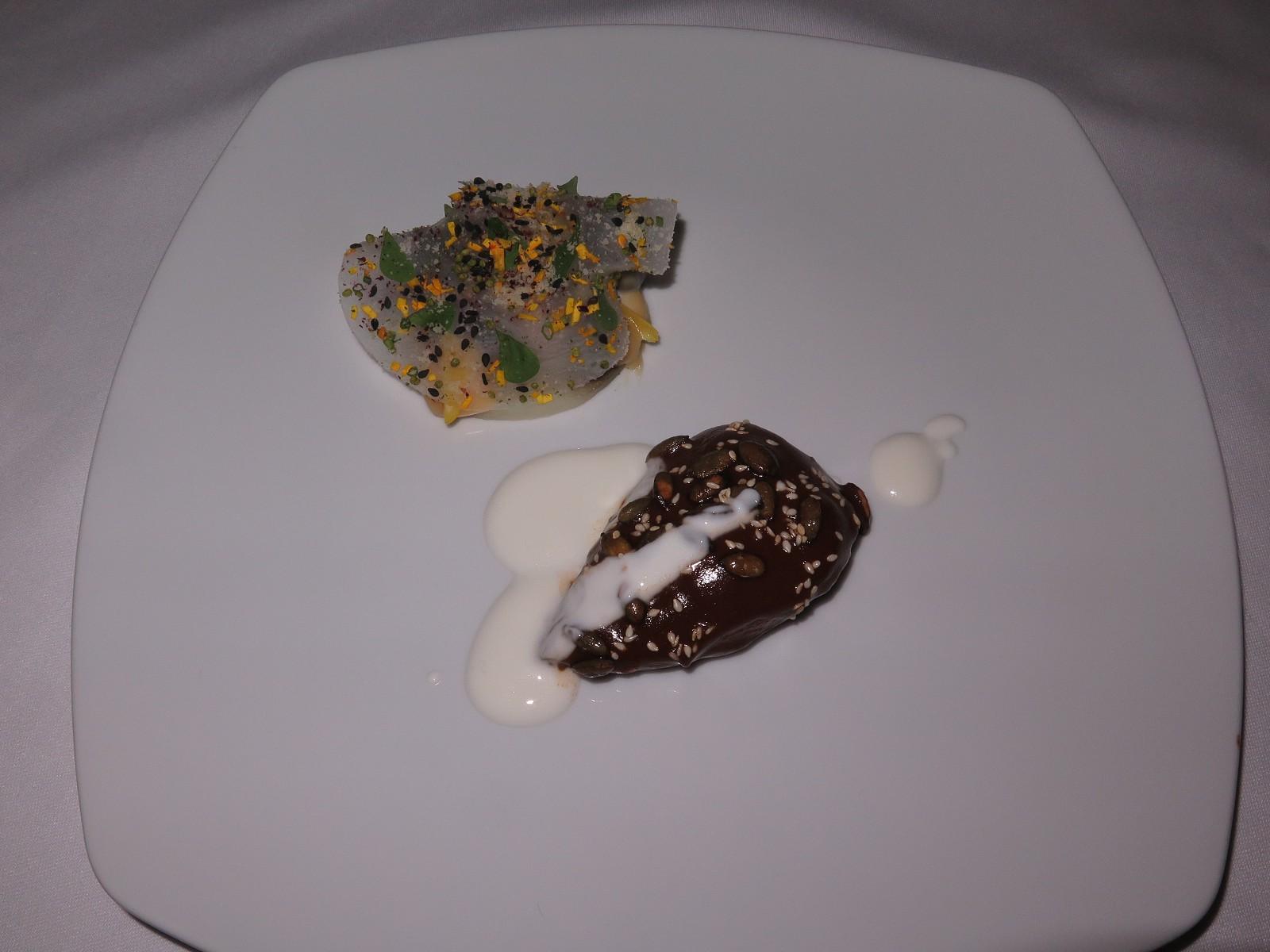 """Pigeon, Mole, sesame-yoghurt, tomatillo, pumpkin seeds, daikon"""