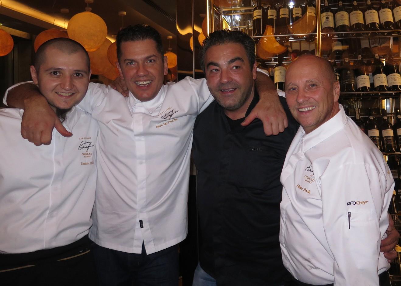Daniele Pirillo (Executive Chef do GUSTO by Heinz Beck), Jacob Jan Boerma (chef do DE LEEST), Juan Amador (chef do AMADOR'S WIRTSHAUS) e Heinz Beck (chef do LA PERGOLA)