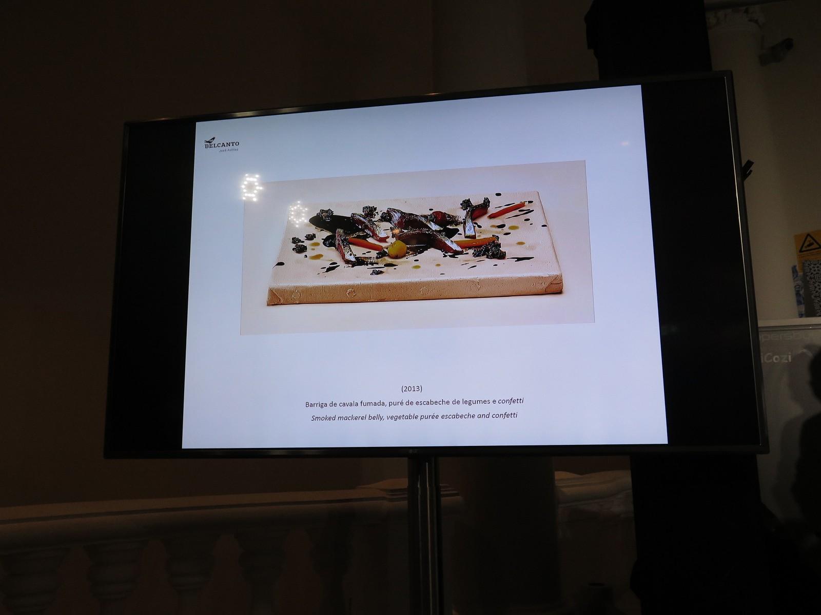 Barriga de cavala fumada, puré de escabeche de legumes e confetti (2013)
