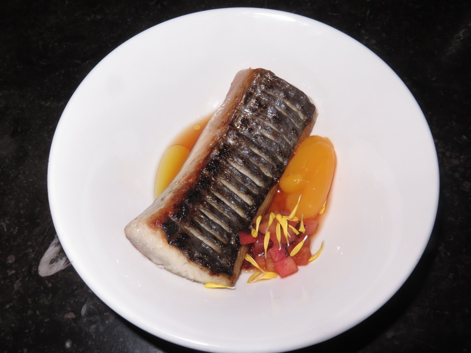 Grilled Mackerel, egg yolk, italian plum, ponzu