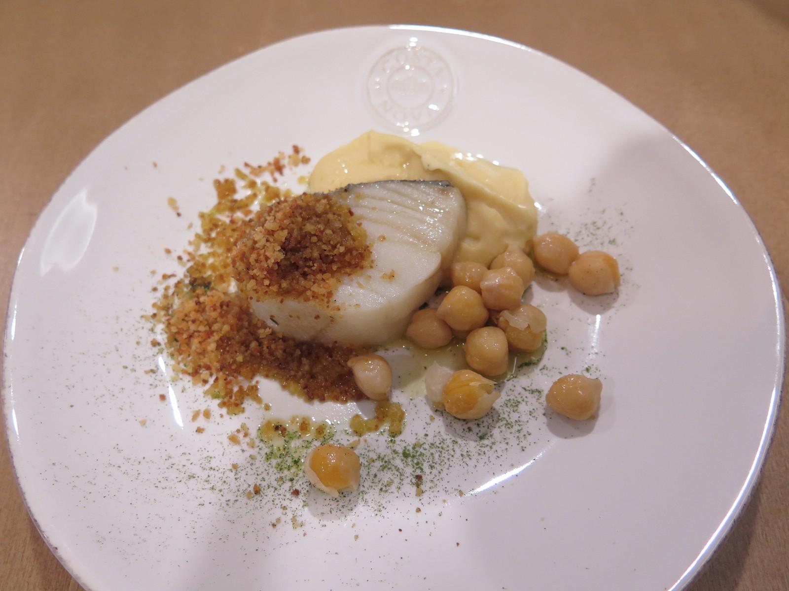 Lombo de bacalhau com grão e broa (versão degustação)